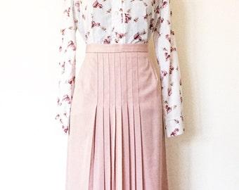 1970s Pink Front Pleats Skirt | Size Medium | A-Line Midi Skirt | By Worthington | Petite