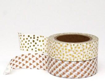 Foil Washi Tape Set Metallic Gold Polka Dots Spots Copper Triangles Pack