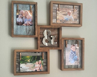 rustic home decor reclaimed wood photo collage with mini metal ampersand photo frame collage wall decor wall art rustic frame wood