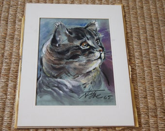 Vintage 1960's - Pastel Drawing of A Grey Tabby Cat - neighbor - a IVY - Art