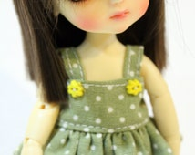 Green and White Polka dot Dress With Bow For Lati Yellow / Pukifee Outfit #L010
