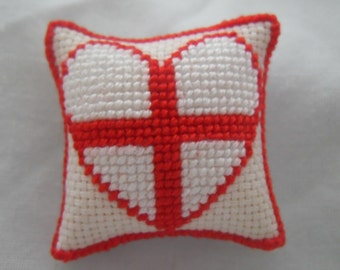 Hand Stitched Dolls House Cushions Cross Stitch 1/12th scale Love England Design