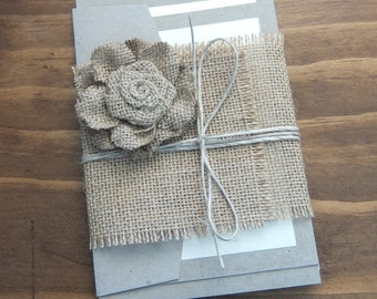 Rustic wedding invitation set with hessian flower