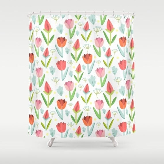 Girls Shower Curtain Floral Bathroom Decor Girls Bathroom