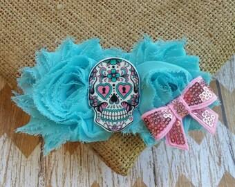 Sugar Skull Hair Bow, Sugar Skull hair clip, girly skull hair clip, skull girl hair clip, skull hair clip