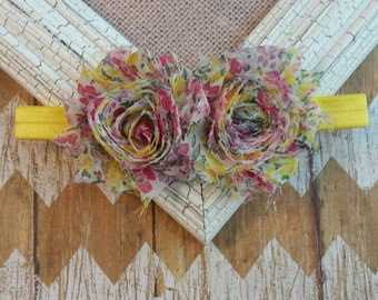 Yellow and pink baby headband, Yellow Shabby flower headband, Country baby headband, Country girl headband, flower headband, Shabby headband