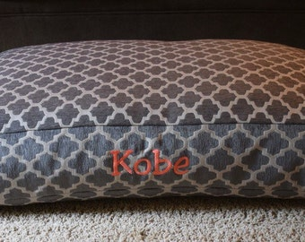 Quatrefoil Grey Dog Bed || Personalized Medium Large Chenille Geometric || Custom Pillow Cover by Three Spoiled Dogs