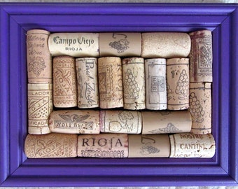 Small Purple Wooden Framed Novelty Wine Corkboard / Pinboard / Noticeboard / Memoboard / Pin Cushion