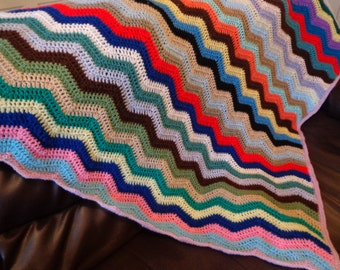 crochet blanket throw 49 inches zig zag chevron pattern chair sofa cover picnic multi colour