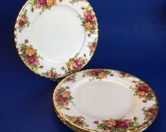 """Set of 4 of 8 Royal Albert Old Country Roses English Bone China 8"""" Salad or Luncheon Plate"""