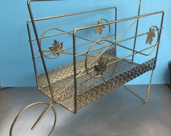 Vintage Brass Wheelbarrow Wire Magazine Caddy Rack Holder Mid Century Modern