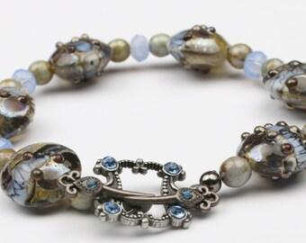 Lampwork Bracelet – Lampwork Jewelry – Swarovski Crystal – Blue and Brown Lampwork Bracelet