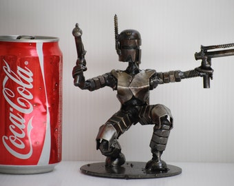 Space soldier  (small-action A) Scrap Metal Sculpture Model Recycled Handmade Art Gift for Anniversary Birthday Christmas Valentine Wedding