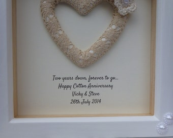 Cotton anniversary present, 2nd wedding anniversary gift, 2nd anniversary gift, cotton gift, cotton anniversary gift, personalised frame