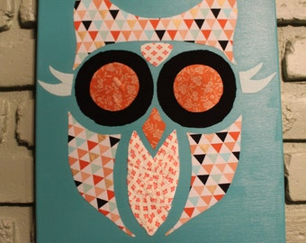 Owl on Canvas - Mixed Media