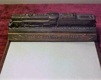 Reading Railway System Railroad Brass Desk Memo Calendar Holder Train