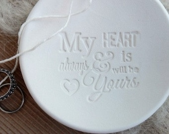 My Heart Is & Always Will Be Yours Custom Wedding Ring Bowl,Original Wedding Bearer Ring Bowl  -1721130916-