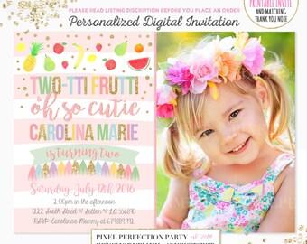 Tutti Frutti Birthday Invitation TWO-TTI FRUTTI Birthday Invitation Girl 2nd Birthday Invitation Fruit Birthday Invitation Pool Party Invite