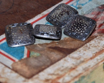 Genuine Vintage ca 1920s Arts and Crafts, Art Deco Hammered Finish Sterling Silver Cuff Links-- Free Shipping!