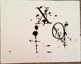 XO in Ink on mixed media paper. Original Only! 15x19.