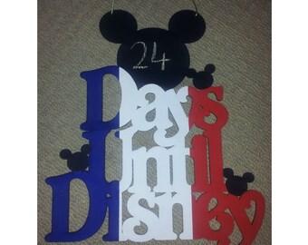 Days Until Disney Reusable Hanging Chalk Blackboard Mickey Countdown DISNEYLAND PARIS - HANDMADE