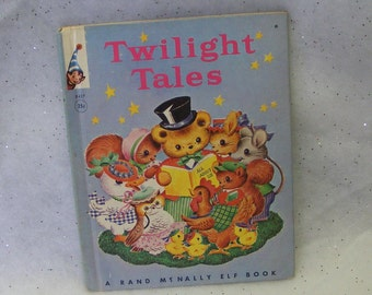 1957 Twilight Tales Children's Book Rand McNally Elf Book 8427 by Miriam Clark Potter Illustrated by Dean Bryant Mrs. Hen Blue ~ 6455c