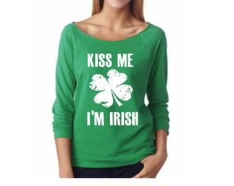 st patricks day womens shirt.kiss me I'm irish.