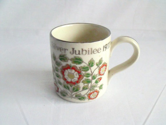 silver jubilee national trust collectable mug, royal memorabilia royalty cup by Dorn Williams