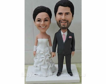 Bride & Groom with pink tie Personalized Wedding Cake Topper