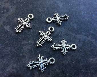 Small filigree cross charms package of 5 ornate cross charms Religious Christian great for adjustable bangle bracelets