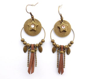 Creole earrings sequin and brown suede