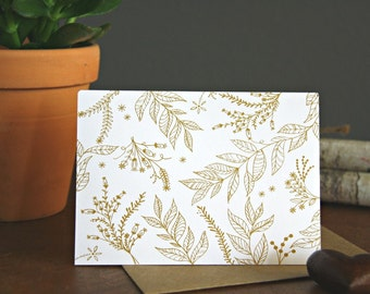 card // Nature Card, blank note cards, hand drawn stationery, for all occasions, LUX, kraft Envelope, Ivy & Vines