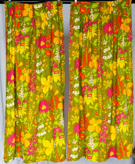 70 39 S Yellow Green And Purple Flower Curtains By Jubileestreet