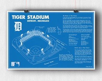 Detroit Tigers - Tiger Stadium Blueprint Poster