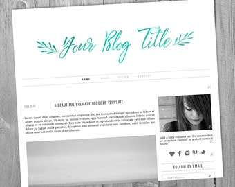 Premade Blog Header - Design #4 - CUSTOM MADE with a text & color of your choice