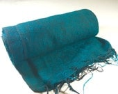 Nepalese Hand-Loomed Yak Wool Blanket,Throw,Shawl- Dark Mint & Black