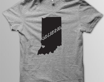 Custom INDIANA Hometown American Apparel Tri blend Tshirt