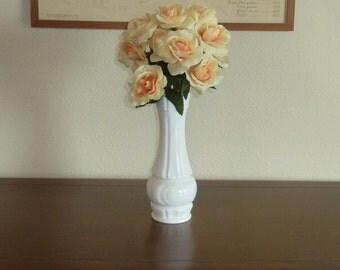 Vintage Milk Glass Vase Large White Wide Mouth Cottage Shabby Chic Wedding Event Home Decor Flower Vase