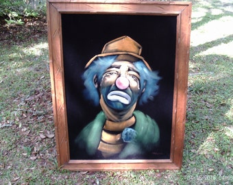 pics for > sad clown painting on velvet