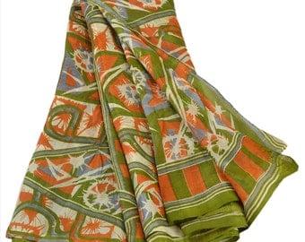 KK Pure Silk Sari Green Saree Floral Printed Craft Fabric