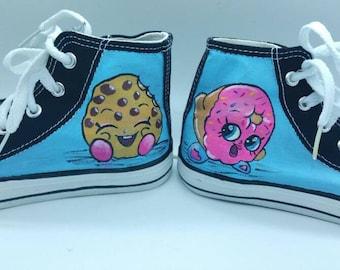 Shopkins hitops. Handpainted kids shoes