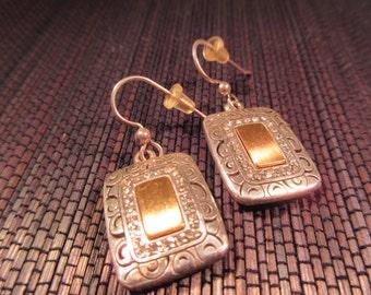 Cool Vintage Sterling Silver Brass Earrings