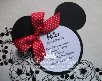 Minnie Mouse Invitation, Red Minnie Mouse Invitation, Minnie Invitation Handmade 30