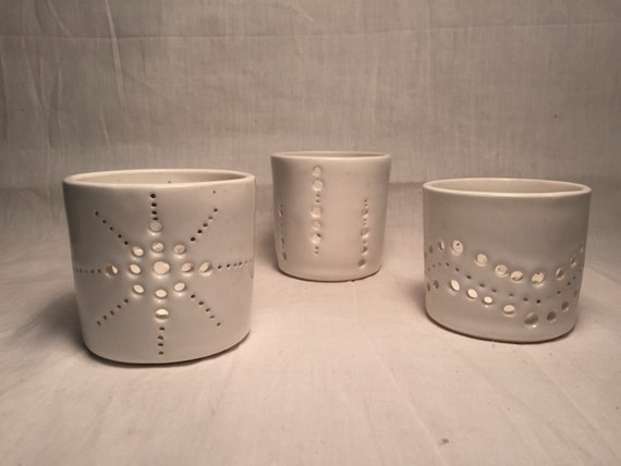 Handemade ceramic candle/tealight holder in various designs  SET OF THREE