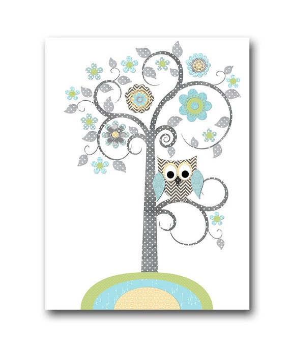 Art Wall Jr Green Jacket : Blue grey green tree owl digital wall art baby boy