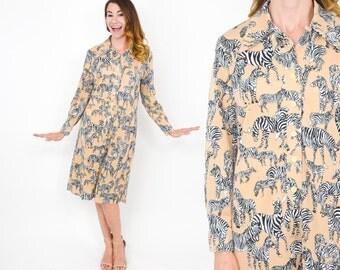 70s Tan Zebra Print Dress | Nylon Zebra Long Sleeve Dress | Medium