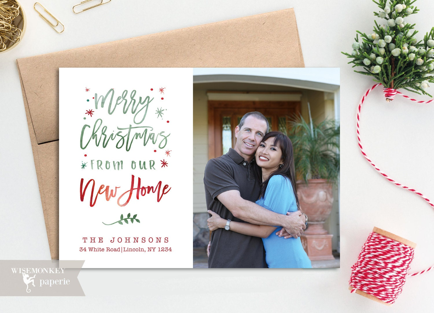 03ea95c1b041e New Home New house Moving Announcement Merry Christmas Photo