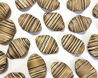 XL Caramel Brown matte Chunky beads - acrylic brown painted beads for jewelry making - 45x30mm