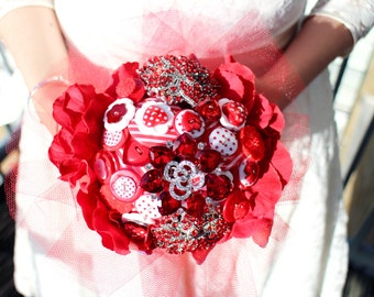 Red bouquet - button bouquet - brooch bouquet - alternative wedding - rockabilly wedding - 50s wedding