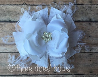 Over the Top White Boutique Bow - Over the Top White Bow - Over the Top Bow - OTT White Bow - OTT Boutique Hair Bows - OTT Boutique Bows